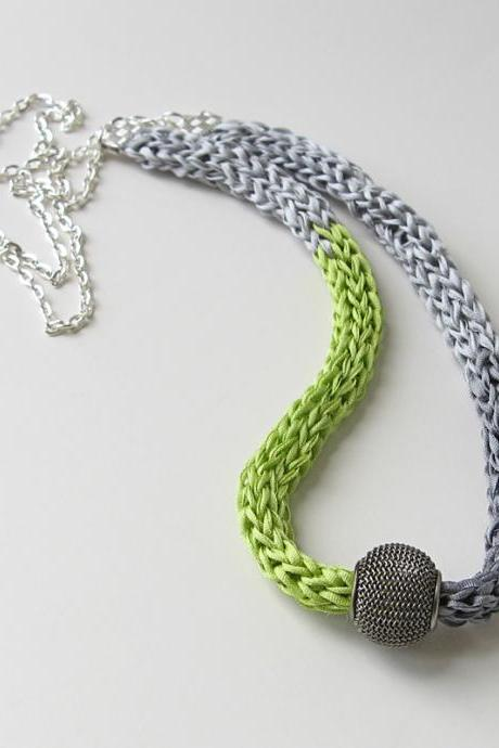 Gray and Green Silk Necklace