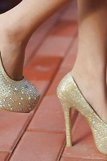 Classy Gold Bling Design Fashion Shoes