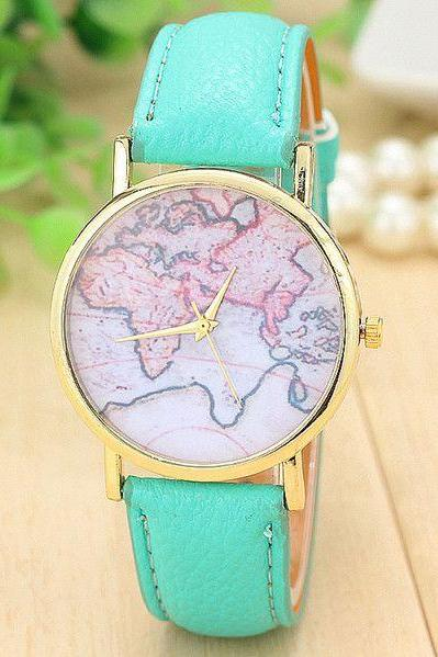 World map casual Pu leather green band woman watch