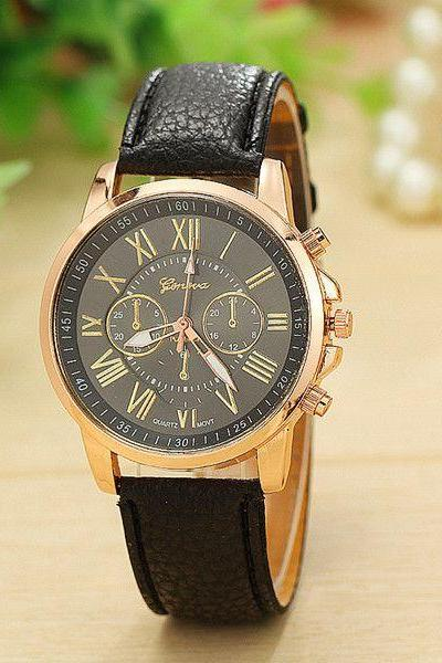 Fashion dress accessory PU leather black band watch