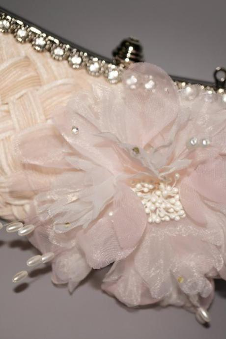 Wedding Handbag Flower Brooch Bridal Cluth Bag Party Lady Purse With Chain (NB10039)