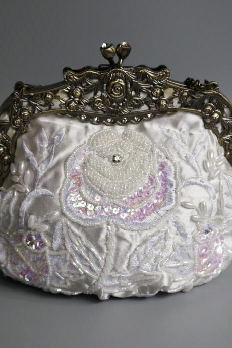 High-grade Sequins handmade handbag, bride handbag,wedding bag,party handbag,beaded wedding bag(NB10035)