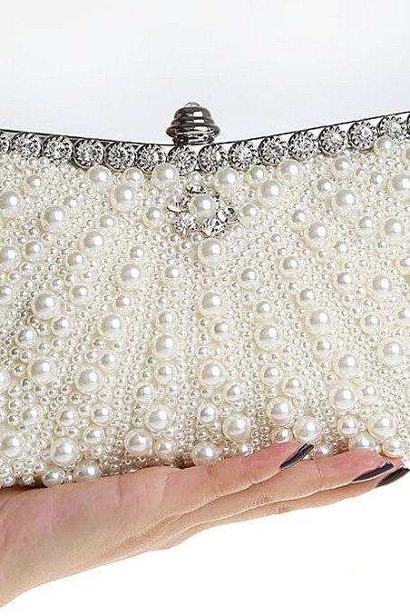 Pearl Embellished Bridal Clutch Bag, Party Clutch Bag