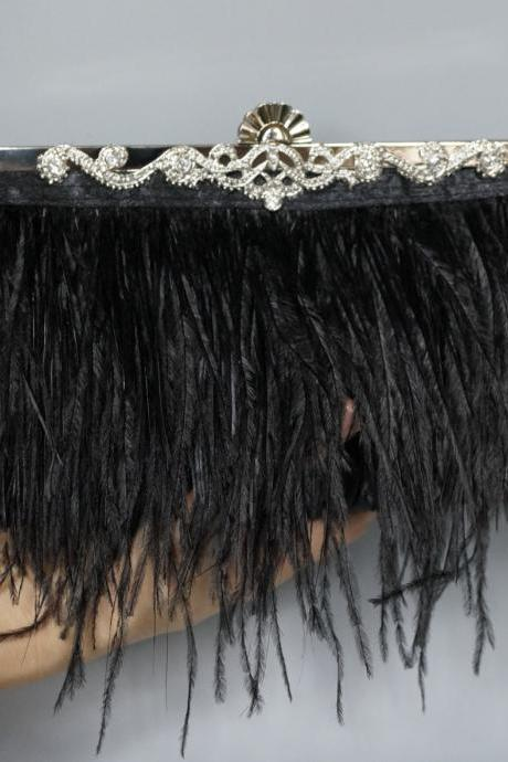 Wedding Clutch,Wedding handbag,Bridal Ostrich Feather Black Clutch (NB10034)