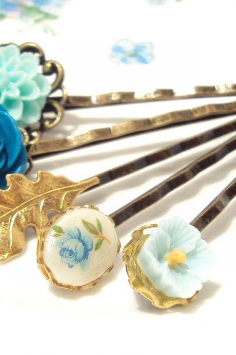 Garden Flower Hair Pin Set - Bobby Pin - Woodland