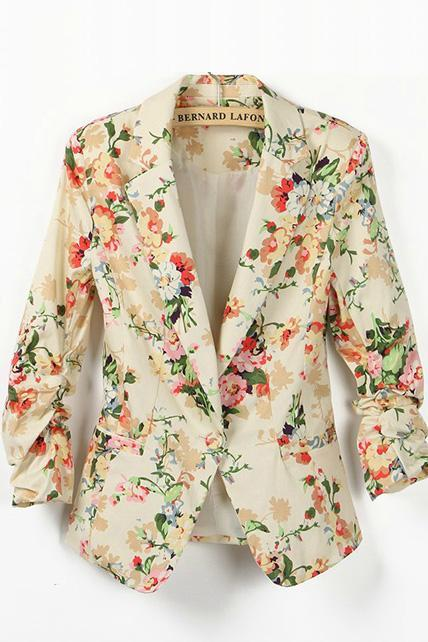 Vintage Turndown Collar Floral Print Long Sleeve Suits
