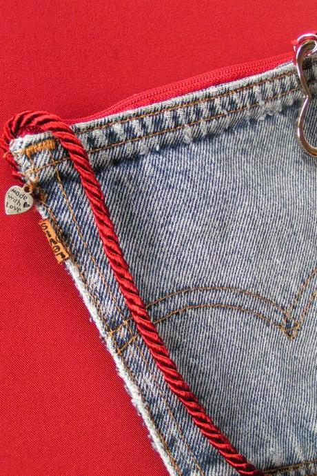 Upcycled Denim Levi's Pocket Purse Red Zipper, Red Cord