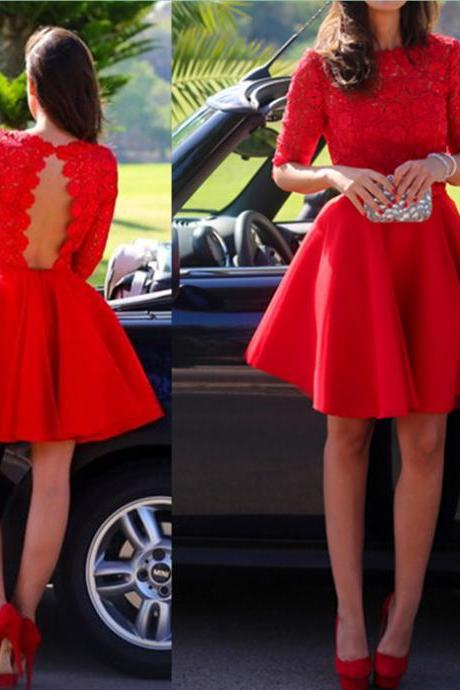 Red Lace Graduation Dresses, Short/Mini Graduation Dresses, Real Made Homecoming Dresses, The Charming Homecoming Dresses, Homecoming Dresses On Sale 2016