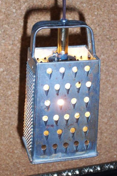 Repurposed Vintage Hanging Light Fixture from silver cheese grater Perfect Recycled Piece