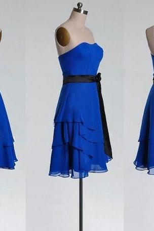 Simple Royal Blue Chiffon Black Sash High Low Short Bridesmaid Dress,A Line Strapless Mini Length Tiered Cheap Bridesmaid Dresses,Layers Skirt Prom Dress,Homecoming Dresses