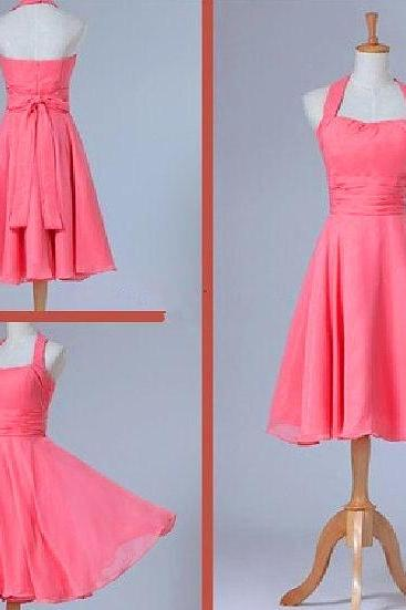 Simple Halter Coral Chiffon Short Bridesmaid Dress, A Line Knee Length Cheap Bridesmaid Dresses,Handmade Homecoming Dress Prom Dress Graduation Dresses