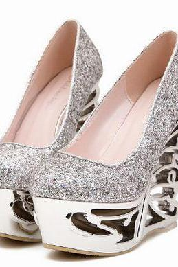 Silver High Heels Gorgeous Wedge Shoes