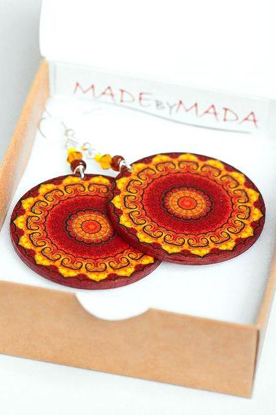 Fall Fashion Rosette Mandala - Yellow Brown Orange - decoupage earrings - double faced