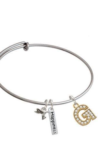Crystal Gold Tone Initial - Expandable Bangle Bracelet| Initial| G
