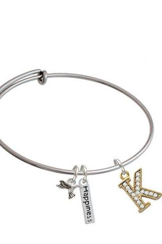 Crystal Gold Tone Initial - Expandable Bangle Bracelet| Initial| K