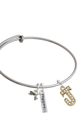 Crystal Gold Tone Initial - Expandable Bangle Bracelet| Initial| J