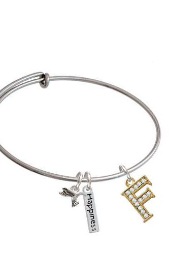 Crystal Gold Tone Initial - Expandable Bangle Bracelet| Initial| F