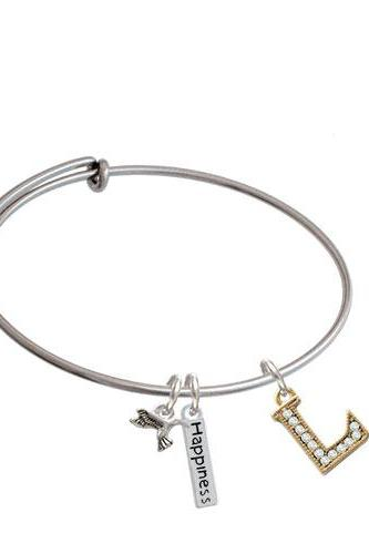 Crystal Gold Tone Initial - Expandable Bangle Bracelet| Initial| L