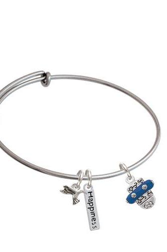 Crystal Spinner Expandable Bangle Bracelet| Color| Navy Blue