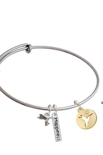 Hummingbird Disc Expandable Bangle Bracelet| Plating| Gold Tone