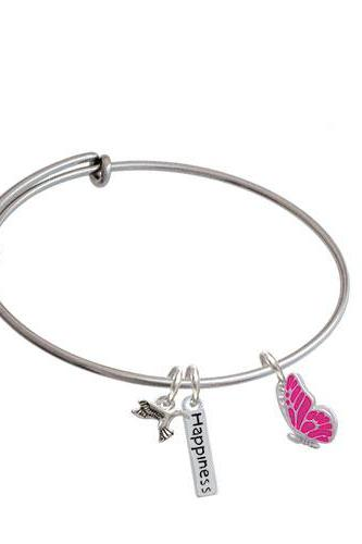 Enamel Flying Butterfly Expandable Bangle Bracelet| Color| Hot Pink