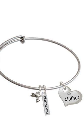 Large Family Heart with Clear Crystal Expandable Bangle Bracelet| Message| Mother