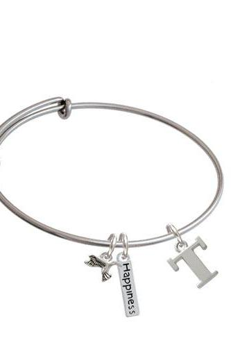 Large Initial - Expandable Bangle Bracelet| Initial| T