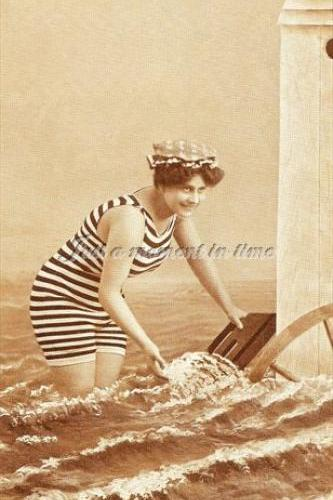 1008 Digital download 300 dpi Edwardian bathing beauty in stripy swimsuit