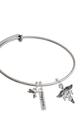 Physical Therapy Caduceus Expandable Bangle Bracelet| Caduceus| PT
