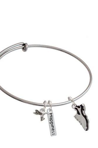 Running Shoe Expandable Bangle Bracelet| Color| Black