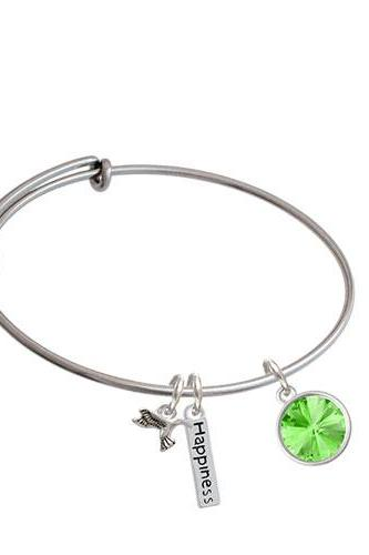 12mm Crystal Rivoli - Expandable Bangle Bracelet| Color| Lime Green