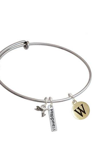 Capital Gold Tone Letter - Pebble Disc - Expandable Bangle Bracelet| Initial| W