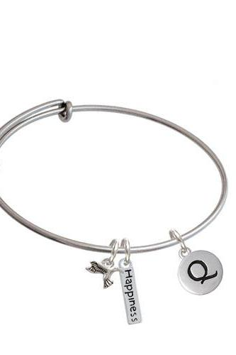 Capital Letter - Pebble Disc - Expandable Bangle Bracelet| Initial| Q