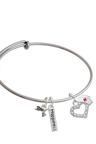 Crystal Heart with Nurse Hat Expandable Bangle Bracelet| Plating| Silver Tone