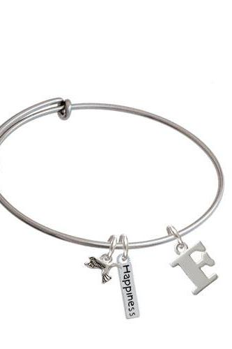 Large Initial - Expandable Bangle Bracelet| Initial| F
