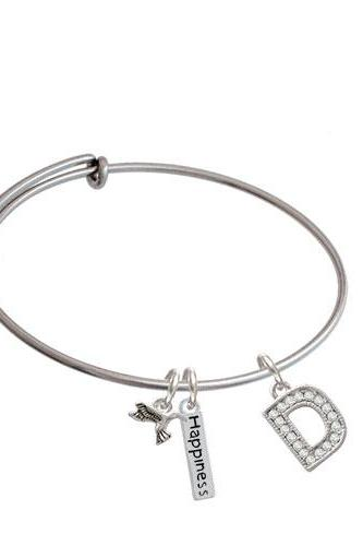 Crystal Initial - Expandable Bangle Bracelet| Initial| D