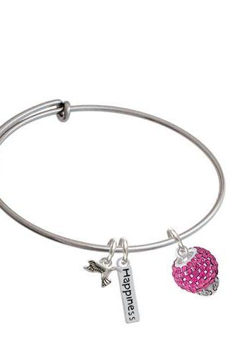 Crystal Sparkle Spinner Expandable Bangle Bracelet| Crystal| Hot Pink