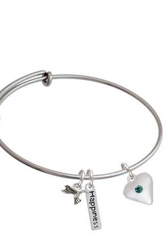 Large Birthday Crystal Heart Expandable Bangle Bracelet| Color| Teal