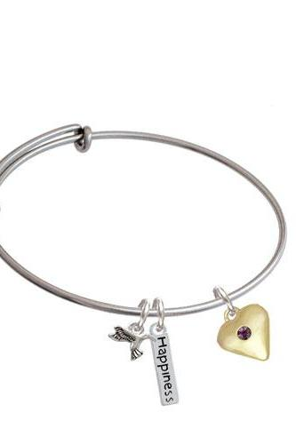 Large Birthday Crystal Gold Tone Heart Expandable Bangle Bracelet| Color| Purple