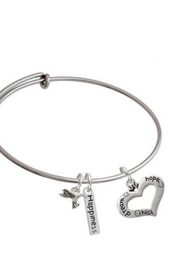 Message Heart with 3 AB Crystals Expandable Bangle Bracelet| Message| Dream/Hope/Wish
