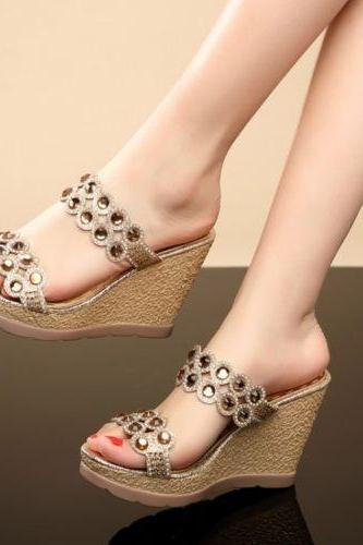 Women's Fashion Open Toe Rhinestone Platform Wedge Heels BOHO Sandals Shoes Size