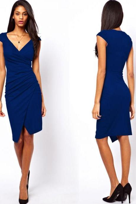 Slim Irregular V Neck Formal Dress