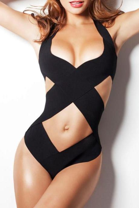 Hollow Cross Bandage One Piece Swimwear