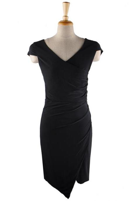 Slim Irregular V Neck Cocktail Formal Dress