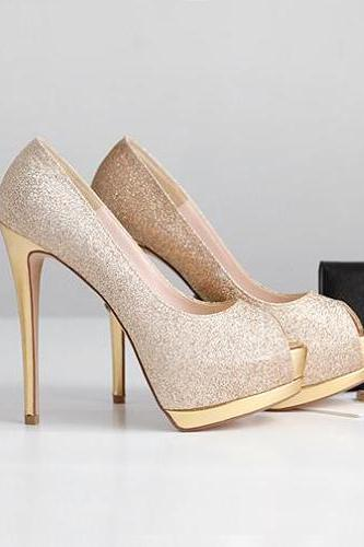 Elegant Peep Toe Stiletto High Heel Gold Pumps