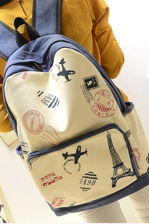 2015 new fashion and cute College Style Eiffel Tower & Airplane Print Canvas Backpack
