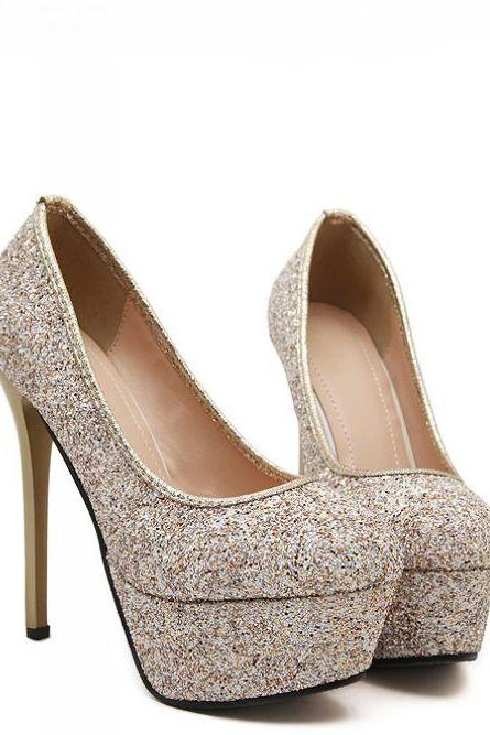 Gold Glitter Rounded-Toe Platform High Heel Stilettos