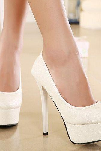 Chic White High Heels Fashion Shoes