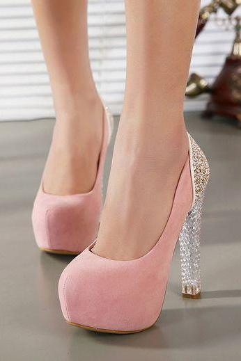 Beautiful Pink Crystal Heel Fashion Shoes