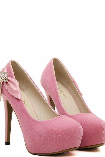 Pink Bow And Diamante Design High Heels Fashion Shoes